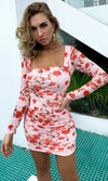Blossoming In Love Orange Floral Pattern Long Sleeve Square Neck Ruched Bodycon Mini Dress