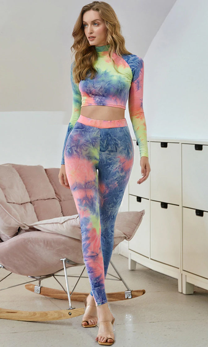 Beyond My Wildest Dreams Multicolor Tie Dye Pattern Long Sleeve Mock Neck Crop Top High Waist Legging Two Piece Jumpsuit Set