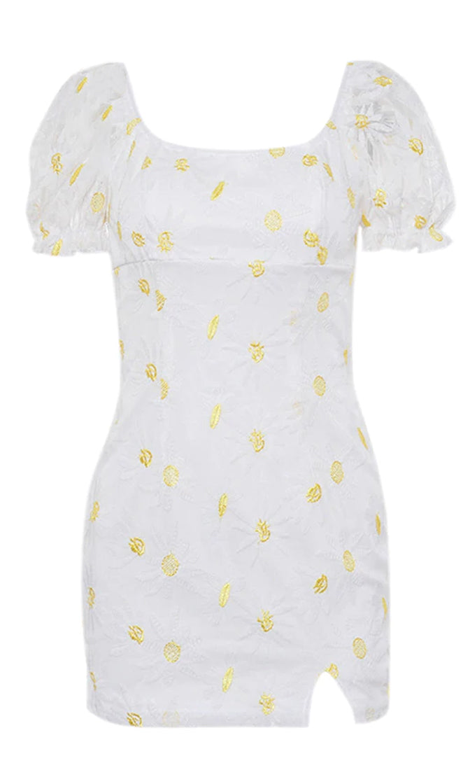 Accept Me White Yellow Daisy Floral Pattern Sheer Mesh Short Puff Sleeve Square Neck Bodycon Casual Mini Dress