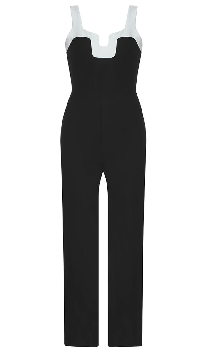 Never Say Goodbye Black White Sleeveless Notch V Neck Straight Leg Bodycon Bandage Jumpsuit