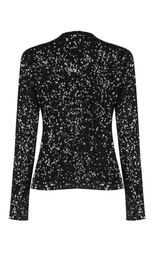Throwing Confetti Black Pearl Button Multicolored Sequin Long Sleeve Crop Outerwear Jacket