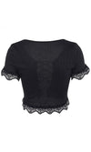 Less Is Best Ribbed Lace Trim Short Sleeve Ruffle Open Front Lace Up Crop Top - 2 Colors Available