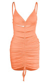 Looking For More Metallic Sleeveless Clear Spaghetti Strap Plunge V Neck Ruched Bodycon Mini Dress - 3 Colors Available
