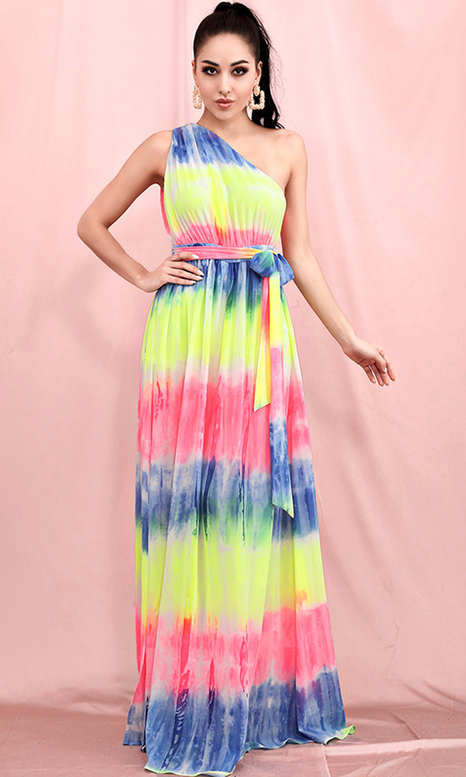 No Cares Neon Multicolor Tie Dye Pattern Sleeveless One Shoulder Tie Belt Side Slit Casual Maxi Dress