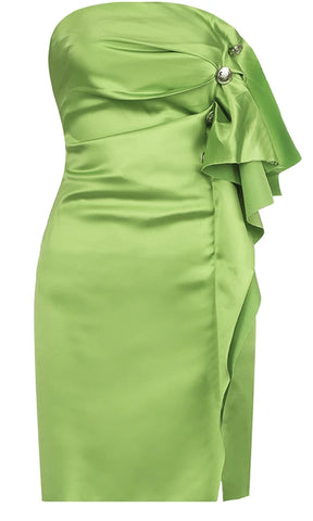 Raise Your Glass Apple Green Sequin Long Lantern Sleeve Round Neck Bodycon Mini Dress