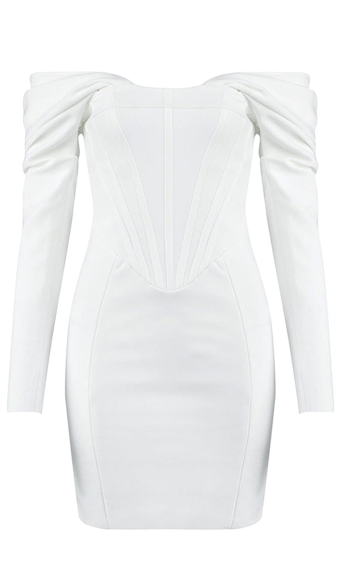On Your Behalf White Long Sleeve Draped Off The Shoulder Bandage Bodycon Mini Dress
