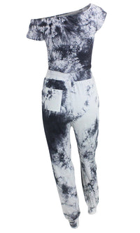 Rushing Nowhere Black White Tie Dye Pattern Cap Sleeve Off The Shoulder Drawstring Waist Jumpsuit