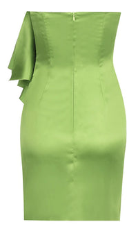 Give Me Fever Green Strapless Ruffle Button Slit Hem Bodycon Mini Dress
