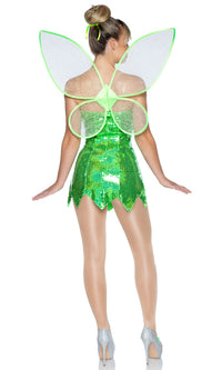 Fairy Lights Green Sequin Sleeveless Clear Strap V Neck Bodycon Wings 6 Piece Halloween Costume