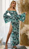 Living My Truth Blue Green Tropical Leaf Pattern Long Flare Sleeve Off The Shoulder Side Slit Casual Maxi Dress