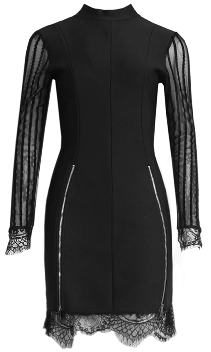 Don't Let Me Down Black Sheer Mesh Lace Long Sleeve Mock Neck Zipper Cut Out Back Bandage Bodycon Mini Dress