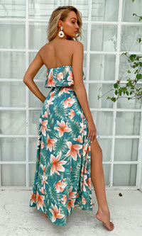 Tropic Sunset Green Orange Floral Pattern Strapless Ruffle Drawstring Waist Side Slit Casual Maxi Dress