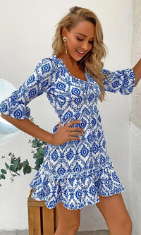 Greek Islands Blue White Geometric Pattern 3/4 Sleeve V Neck Ruffle Cut Out Back Flare A Line Casual Mini Dress