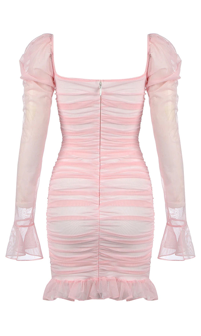 Total Romantic Pink Sheer Mesh Ruched Long Sleeve Puff Shoulder Scoop Neck Ruffle Bodycon Mini Dress