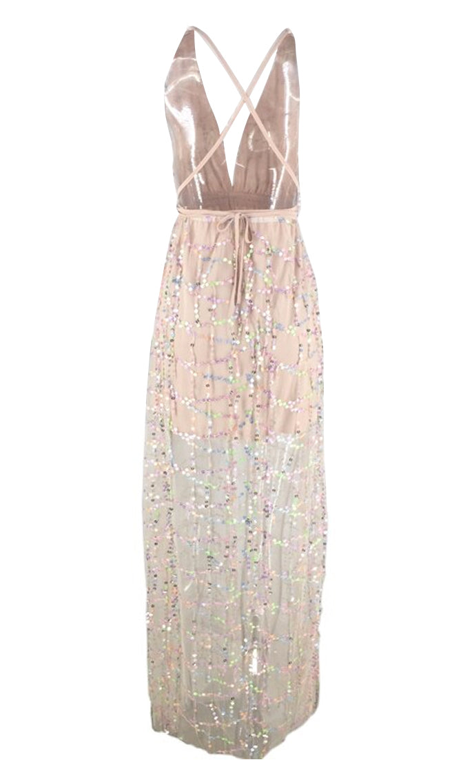 Almost Time Pink Sequin Tassel Sheer Mesh Sleeveless Plunge V Neck Backless A Line Maxi Dress
