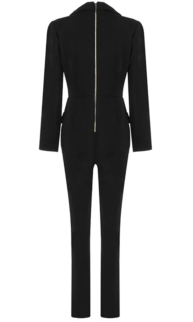Causing A Commotion Black Long Sleeve Button V Neck Skinny Blazer Jumpsuit