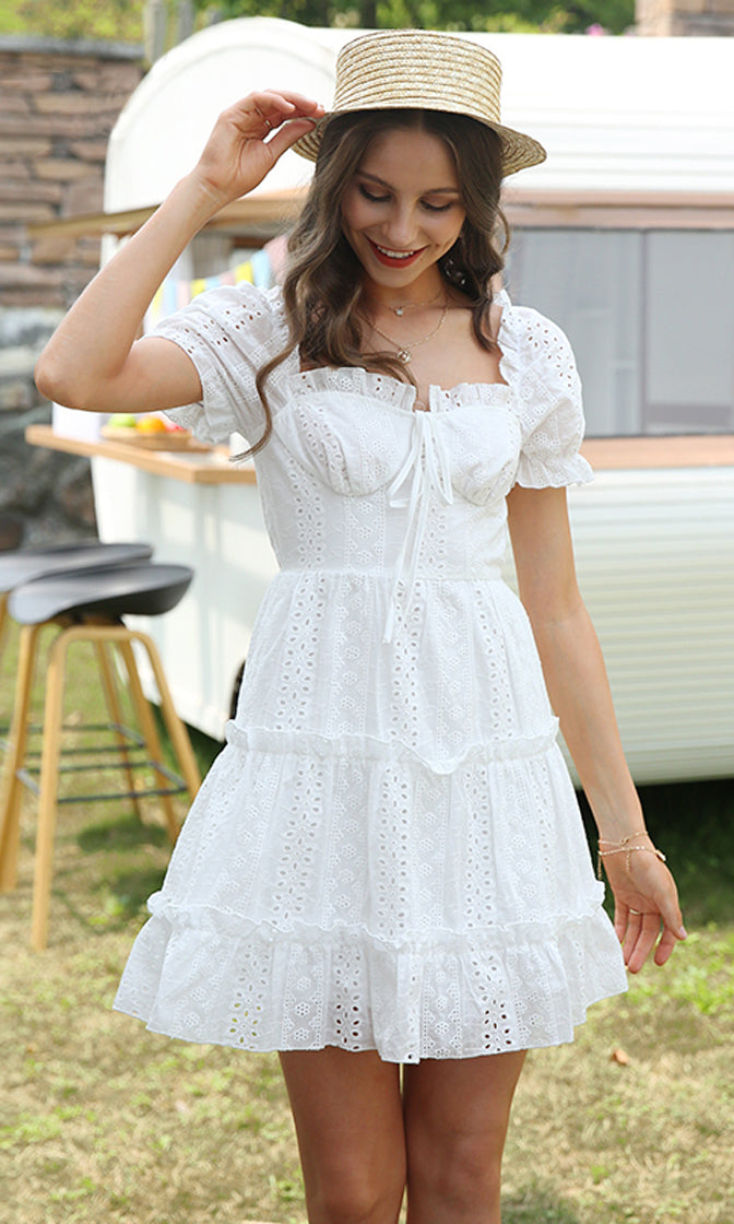 Sweetest Kiss White Eyelet Lace Short Puff Sleeve Ruffle Sweetheart Neck Flare A Line Casual Mini Dress