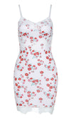 LA Vision White Red Floral Pattern Sleeveless Spaghetti Strap V Neck Lace Trim Casual Bodycon Mini Dress