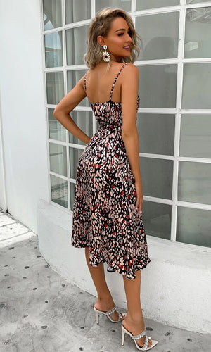 Animal Attitude Black Beige Leopard Geometric Pattern Sleeveless Spaghetti Strap V Neck Cut Out Waist Flare A Line Casual Midi Dress