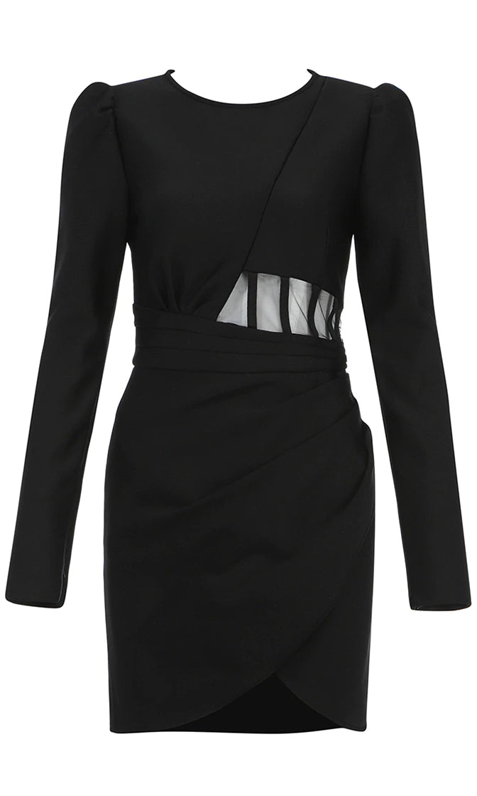 Onto The Next Black Long Sleeve Puff Shoulder Round Neck Sheer Mesh Waist Wrap Bodycon Mini Dress
