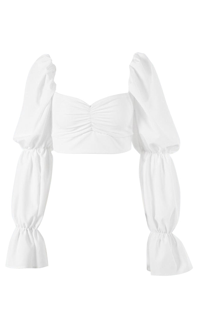 Peasantly Surprised White Long Puff Sleeve Flare Cuff V Neck Crop Top Blouse