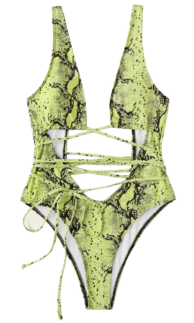 Drive My Boat Animal Pattern Geometric Print Sleeveless Plunge V Neck Lace Up High Cut Brazilian One Piece Swimsuit - 4 Colors Available