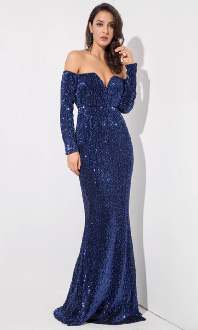 Time To Sparkle Blue Sequin Long Sleeve Off The Shoulder V Neck Mermaid Maxi Dress