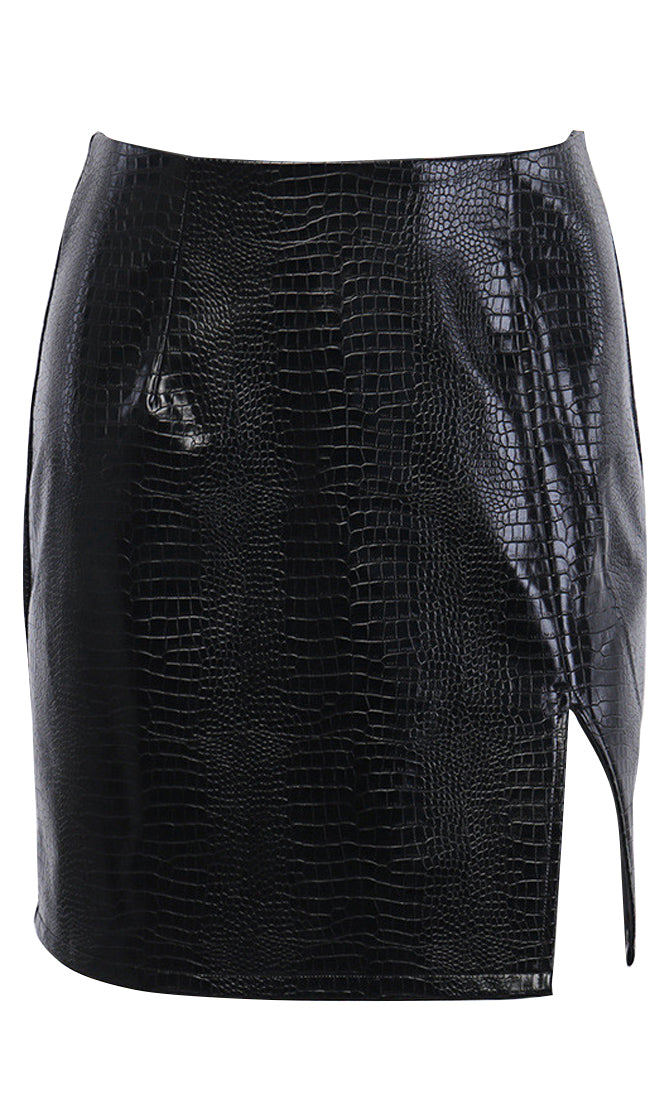 Hands On Crocodile Embossed PU Faux Leather Slit Hem Bodycon Mini Skirt - 2 Colors Available