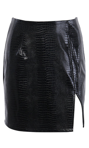 Outshine Them All Black High Waist Faux Leather Vinyl Latex Look PU Shiny Midi Pencil Skirt