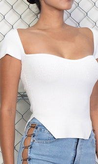 Never Without You White Sweater Knit Short Sleeve Sweetheart Neck Cut Out Hem Top - Sold Out
