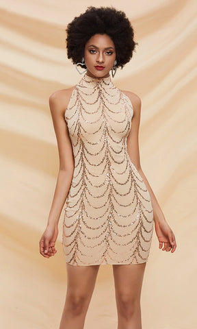 Main Course Sequin Beading Sleeveless Spaghetti Strap Scoop Neck Bodycon Mini Dress - 2 Colors Available