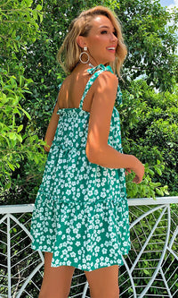Dancing In The Sun Green White Floral Pattern Sleeveless Bow Straps Straight Neckline Flare A Line Casual Mini Dress