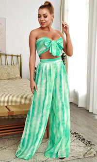 In The Islands Green Tie Dye Pattern Chiffon Strapless Bow Crop Top High Waist Pleated Wide Leg Pants Two Piece Jumpsuit