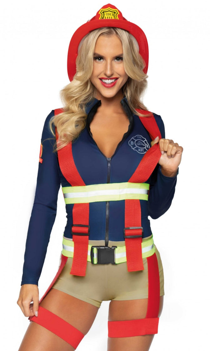 Hold Your Hose Navy Red Colorblock Long Sleeve Zipper Bodycon Romper Suspenders 2 Piece Halloween Costume
