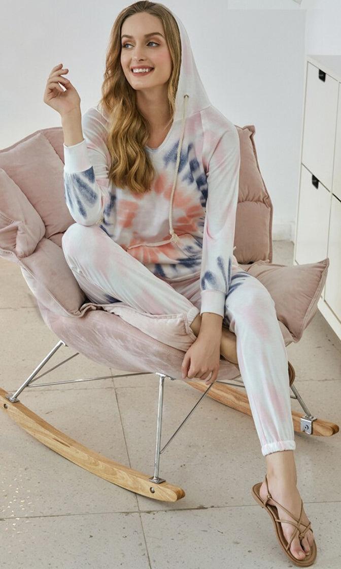 Cute And Cuddly Pastel Multicolor Tie Dye Pattern Long Sleeve Pullover Hoodie Drawstring Waist Jogger Pant Two Piece Loungewear Jumpsuit Set