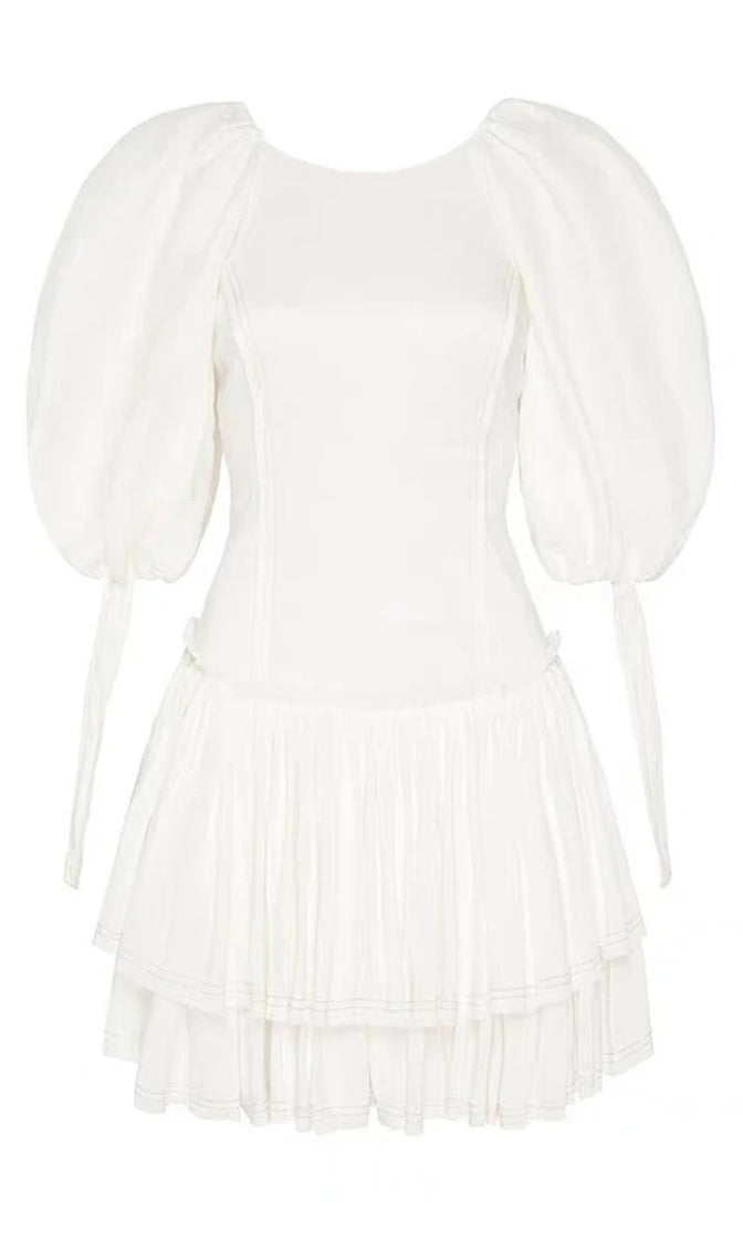 Afternoon Tea Pink Ribbon Lace Up Back Cinched Waist White Ruffled Puff Short Bow Sleeve Mini Dress