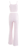 Attention Seeker Pink Ribbed Sleeveless Spaghetti Strap Scoop Neck Crop Top Elastic Waist Flare Leg Pant Two Piece Jumpsuit