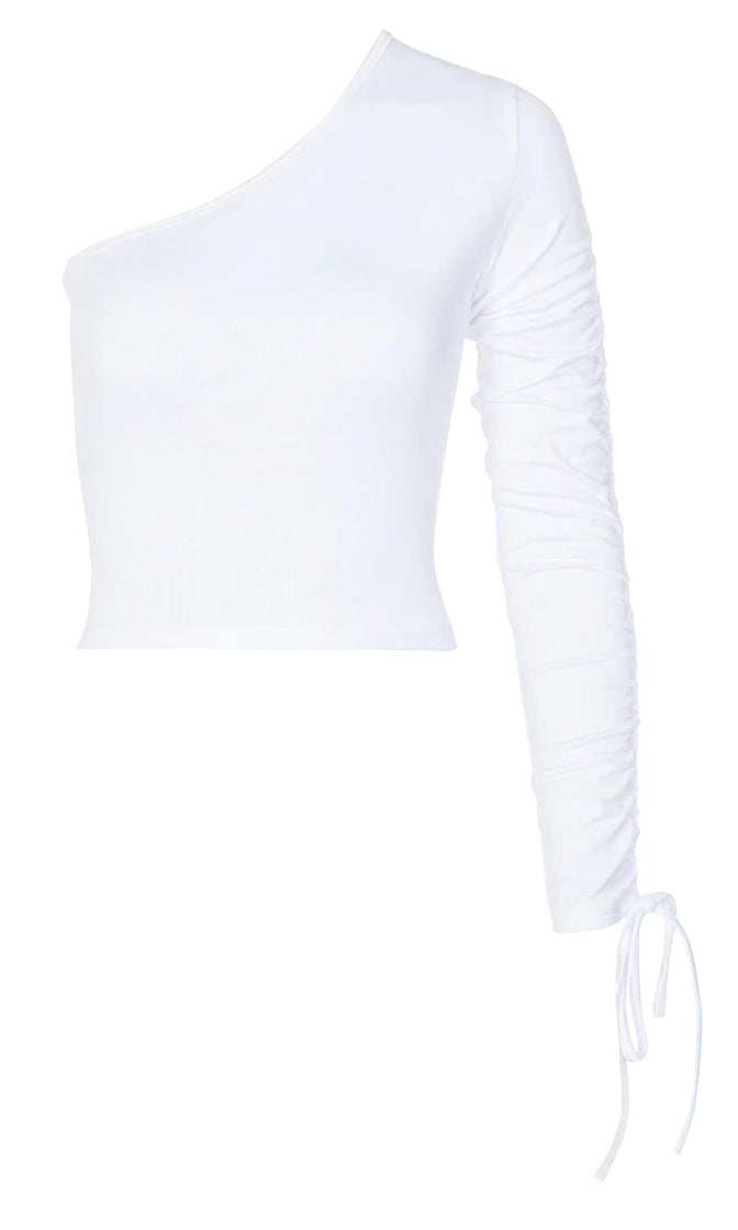 Not Surprised One Shoulder Long Sleeve Drawstring Ruched Top