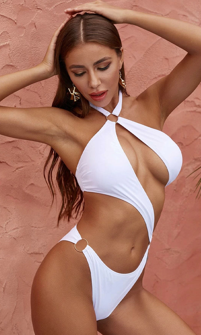 Down Beach White Cut Out O Ring Halter Monokini Swimsuit - 2 Colors Available