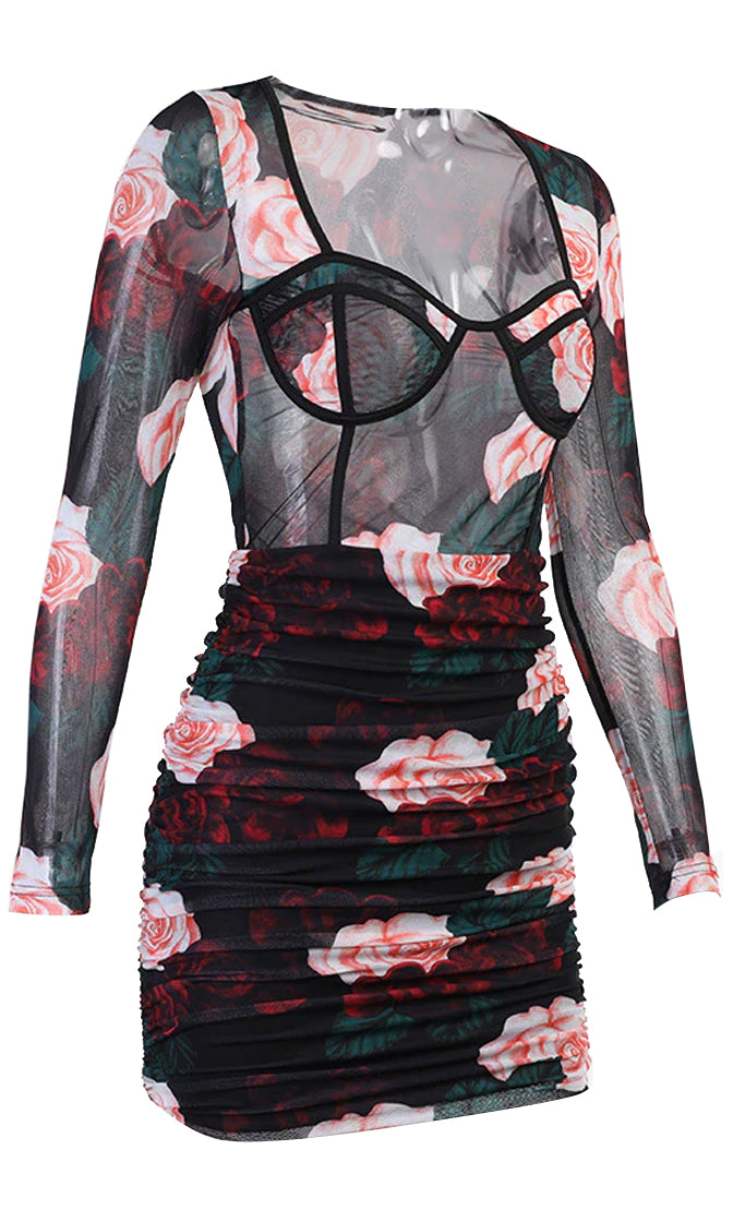 Blossom For You Black Pink Floral Pattern Sheer Mesh Long Sleeve Bustier V Neck Ruched Bodycon Mini Dress