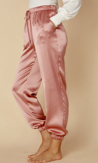 Posh Principles Pink Satin Elastic Waist Jogger Pants - Sold Out