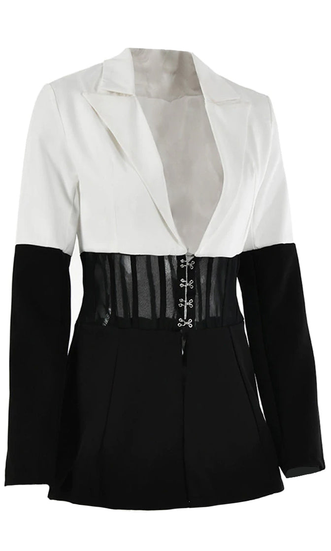 Ebony And Ivory Colorblock White Black Long Sleeve V Neck Lapel Sheer Mesh Waist Hook And Eye Blazer Jacket Outerwear