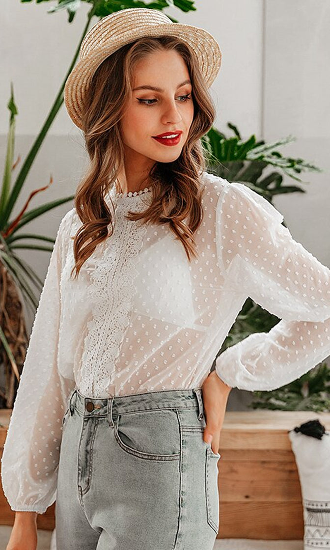 Sweet Pea White Sheer Mesh Polka Dot Pattern Lace Trim Long Sleeve Crew Neck Blouse Top