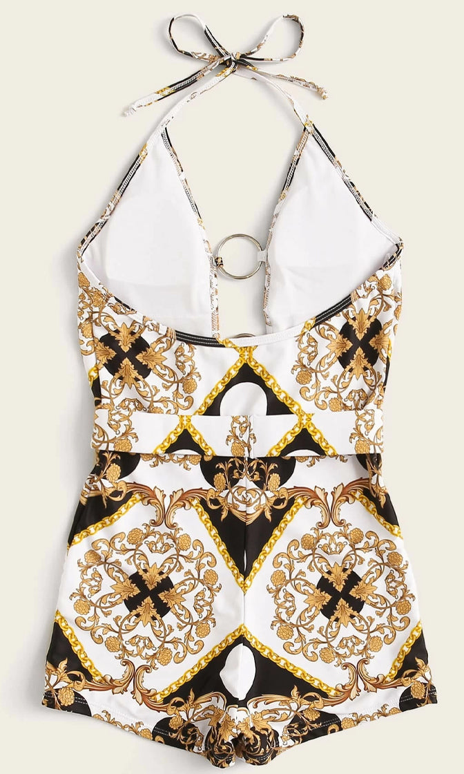 Beach Bunny Beige Geometric Floral Pattern Spaghetti Strap Halter Plunge V Neck O Ring Short One Piece Swimsuit