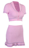 Be For Real Pink Short Sleeve V Neck Crop Top Ruffle Bodycon Mini Skirt Two Piece Dress