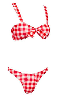 Malibu Barbie Red Black Gingham Plaid Pattern Sleeveless Ruffle Tie Front Brazilian Two Piece Bikini Swimsuit