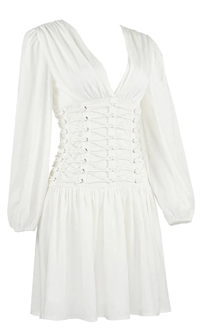 Beautiful Belle Long Puff Sleeve V Neck Lace Up Corset Waist Flare A Line Mini Dress