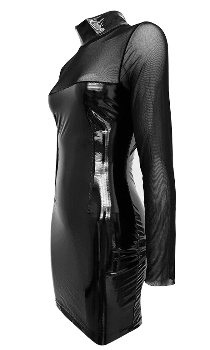 Come Back For More Black PU Faux Leather Sheer Mesh Long Sleeve Mock Neck Bodycon Mini Dress