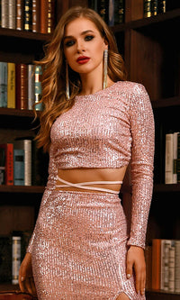 Glamorous Dream Rose Gold Sequin Long Sleeve Round Neck Open Back Crisscross Strap Crop Top