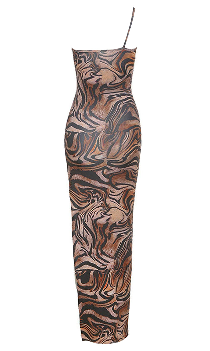 Long Lost Love Tiger Print Animal Pattern Sleeveless Spaghetti Strap One Shoulder Side Slit Bodycon Maxi Dress